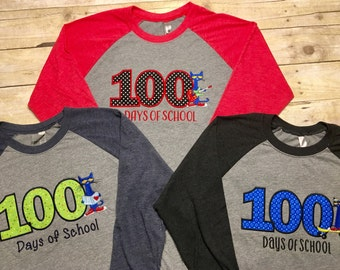 100 days of school shirt, teacher or student shirt, reading shirt, i love to read shirt, baseball raglan