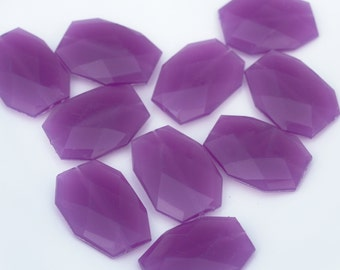 VIOLET Purple Jelly Style Acrylic Beads 34 x 24mm - Bulk Wholesale Beads, Faceted Flat Slab Nugget Jewel Beads - Large Modern Loose Bead