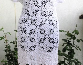 Dress Crochet  Crochet Dress White Dress  Women White Lace Dress  Handmade Dress Crocheted Dress