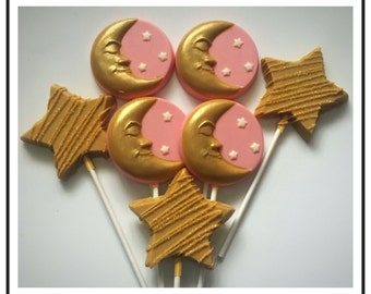 Moons and Stars Chocolate lolliops, twinkle twinkle little star theme chocolate lollipops