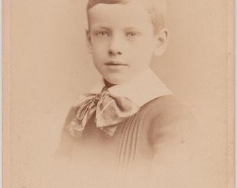 Little Boy Original Antique Cabinet Card / Vintage Photograph / Victorian Child Photo / Little Boy Blue / 1800s / Victorian Boy Portrait