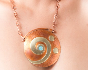 Key Musical Necklace of FA, copper, necklace, exclusive music, Patina of copper and bronze