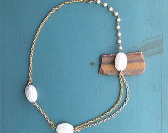 Chain, Pearl and Shell Boho Necklace
