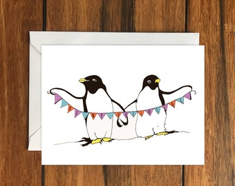 Be My Valentine Penguin Bunting Blank greeting card,  A6