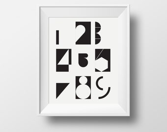 Numbers Poster, Nursery Wall Art, Black and White Print, 1 2 3 4 5 6 7 8 9 , Nursery Art Black and White, Black and White Print, Printable