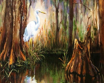 Louisiana Swamp with Heron, Egret in the  Bayou, Louisiana Birds and Wildlife, Louisiana Impressionist Swamp Scene - 'The Surveyor'