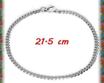 1 chain bracelet in stainless steel 21.5 cm