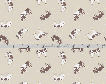 Tiny Brown Cows Fabric, Lewis & Irene Fabric, Small Things on the Farm Fabric SM4.1 Lightest Brown, Small Print Cow Quilt Fabric, Cotton