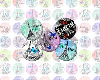 Eiffel Tower Paris Printable 1-Inch Circles / Bottlecap Images / Digital Collage / French, Vintage Eiffel, Butterflies / Instant download