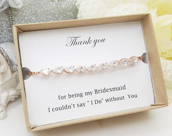 Small Tear Cubic Zirconia bridesmaid Bracelet Gift box