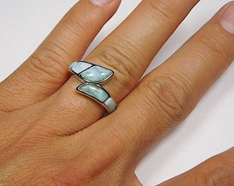 High Quality Genuine AAA Dominican Larimar Inlay 925 Sterling Silver Ring size 7