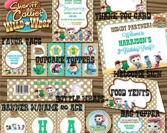 Sheriff Callie BOY PARTY PACKAGE Includes Invite Party Banner Food Tents Thank You Card Cupcake Toppers Wrappers Favor Tag More