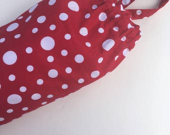 Plastic Grocery Bag Holder Fabric Red and White Dots