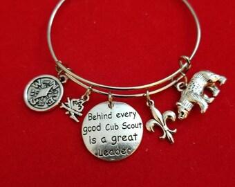 Silver Cub Scout Leader Charm Bracelet