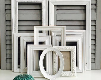 White Shabby Chic Frame Set; Hand-Painted Gallery Wall Frames; Distressed Frame Set; White Nursery Decor