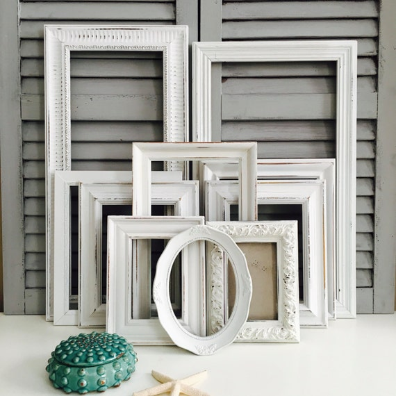 white shabby chic frame set hand painted gallery wall frames. Black Bedroom Furniture Sets. Home Design Ideas