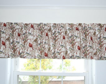 Nestled in Branches Cardinals & Chickadee Straight Valance