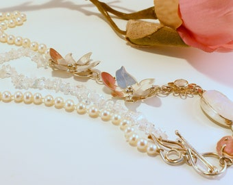 Silver necklace with gemstones and pearls
