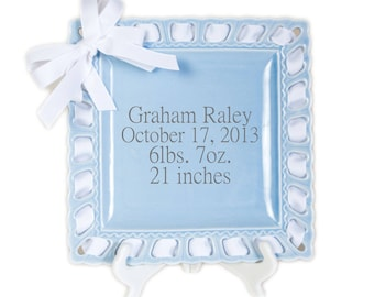 Personalized fathers gifts etsy personalized birth announcement baby stats ribbon plate personalized baby gift newborn gift negle Gallery