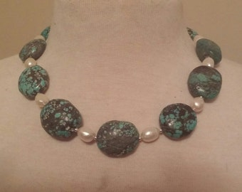 Huge Tumbled Turquoise, Pearl & Sterling Silver Necklace