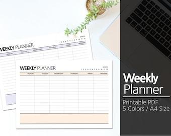 5 Colors Printable Weekly Planner A4 / Weekly Planner Printable / Desk planner / Undated / Simple / Minimalist  #31