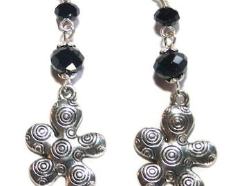 Earring dangle spiral flower black Argenteport free FRANCE