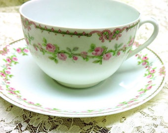 Antique Tea Cup Set, Sweet Pink Roses , European china, mismatched china, tea party, shower