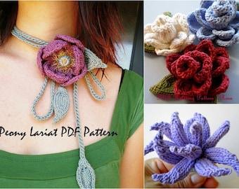 PDF Flower Knitting Pattern Set - Peony Lariat, Rose, Aster