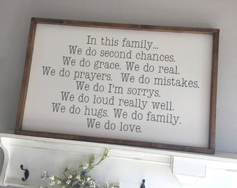 Large Wood Sign - In This Family - Farmhouse Sign - Hand-Painted Sign - Gallery Wall - Family Sign - Family Rules - Family Motto - Entryway
