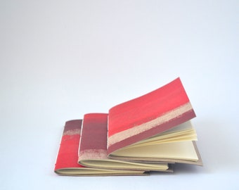 Quick Notes, Painted Soft Cover Notebook, Hand Bound Journal in Red and Burgundy