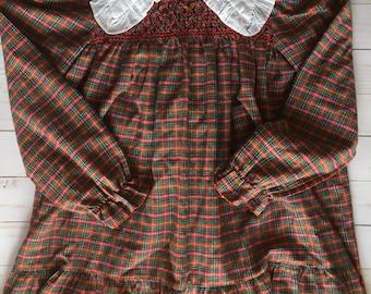 Vintage Polly Flinders Girls Plaid School Dress Size 6X