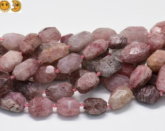 Sale---15 inch strand of Strawberry Quartz faceted nugget beads,centre drilled beads