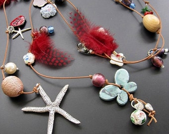 """Long Necklace with charms - wrapped leather necklace """"Summer treasures"""""""