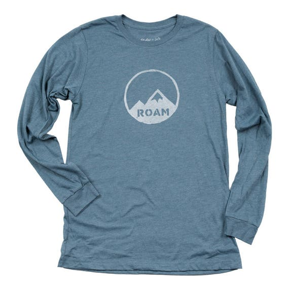 ROAM Men's Long Sleeve T-shirt - Mountains Print - Mountains Shirt - ROAM Print Shirt - Men's Hiking Shirt - Men's Camping Shirt - Wanderer itMrP