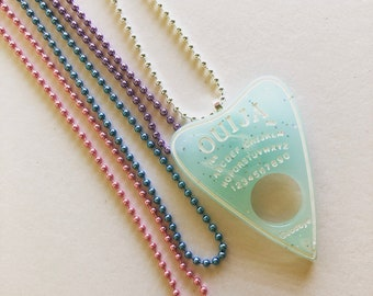 Light Blue Sparkly Ouija Board Necklace, Kawaii Necklace, Fairy Kei Necklace, Pastel Goth Necklace, Sweet Lolita, Ouija Planchette