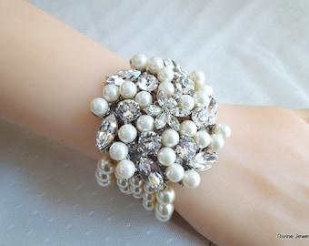 pearl bracelet, bridal pearl rhinestone Bracelet,  Statement Bracelet, Bridal Cuff, Wedding Rhinestone Bracelet, swarovski crystal, PAULETTE