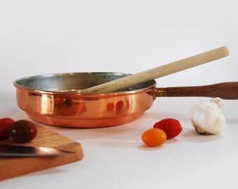 vintage copper bottomed aluminum skillet with wood handle