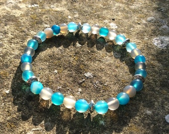 Blue Agate & Smoky Quartz - Men's and Women's Bead Stretch Bracelet