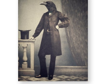 Crow Art Print Raven Art Animals In Clothes Animal Art Gothic Decor Animal Portrait Anthropomorphic Collage 3 Sizes Available