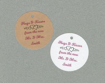 Wedding Tags, Set of 50, Hugs and Kisses Tag, Printed Tags, Wedding Shower Tags, Tags, Wedding Favor, Thank You Tag