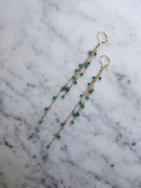 Green onyx chain fringe earrings gold filled dangles
