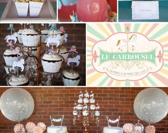 DIY printable baby shower, wedding or birthday party package - le carrousel