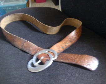 Hand Stamped Flowerd Leather Belt wih Hallmarked Ges. Geson Double Circle Buckle from Germany