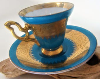 Tea Cup Saucer Lusterware Blue Turquoise Japan Arnart Flower Floral Design Gold Gilt Delicate Footed Ornate Handle