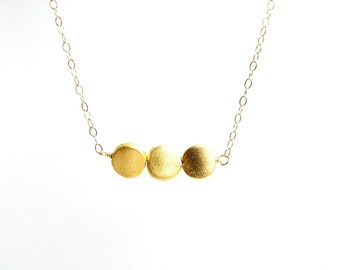 Gold Dots Necklace. Three Small Gold Plated Beads. Simple Modern Jewelry ~ Gift for Mom