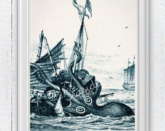 Monster Kraken Octopus Print, Octopus home decor, Nursery wall art, Kraken  bathroom decor   SAS188