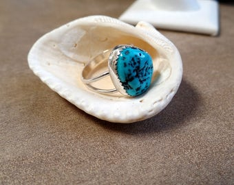 Webbed Turquoise Ring. Turquoise Silver. Sterling Silver Turquoise Ring. December Birthstone. Sterling Silver Ring. 1206