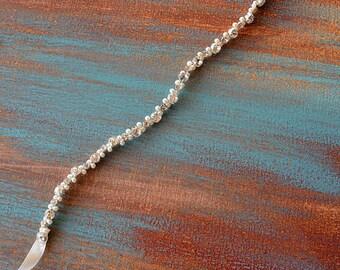 Wedding belt, Bridal belt, Rhinestone belt, Sash Belt, Pearl Belt, Thin Wedding Belt, Wedding Dress Skinny Belt, Bride, Wedding Accessory