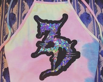 Custom Holographic Halter Crop Top - SLAPQUEEN.COM EDM Festival Clothing Hippie Boho