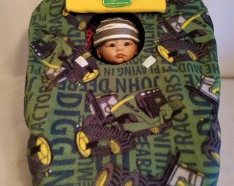 "Car Seat Cover John Deere Tractors Digging Baby Cozy Green & Yellow Fleece n Patch Hand Made Carrier Infant Custom Embroider ""Future Farmer"""